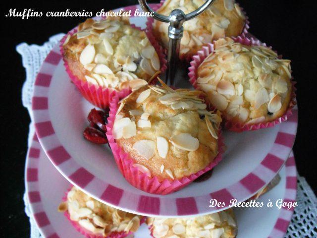 Muffins cranberries chocolat blanc