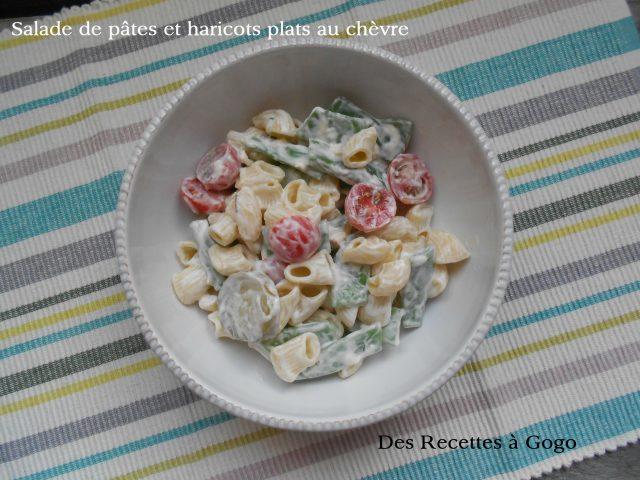 Salade de pâtes et haricots plats au chèvre