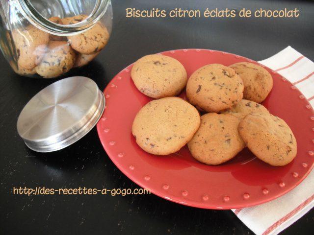Biscuits citron éclats de chocolat