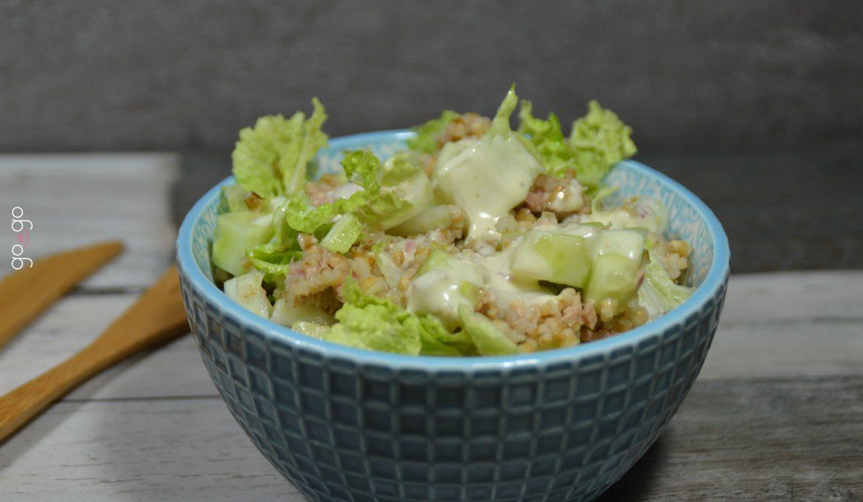 Salade détox orge chou chinois concombre thon